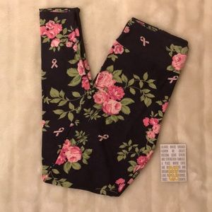 [Lularoe] floral and pink ribbon OS leggings
